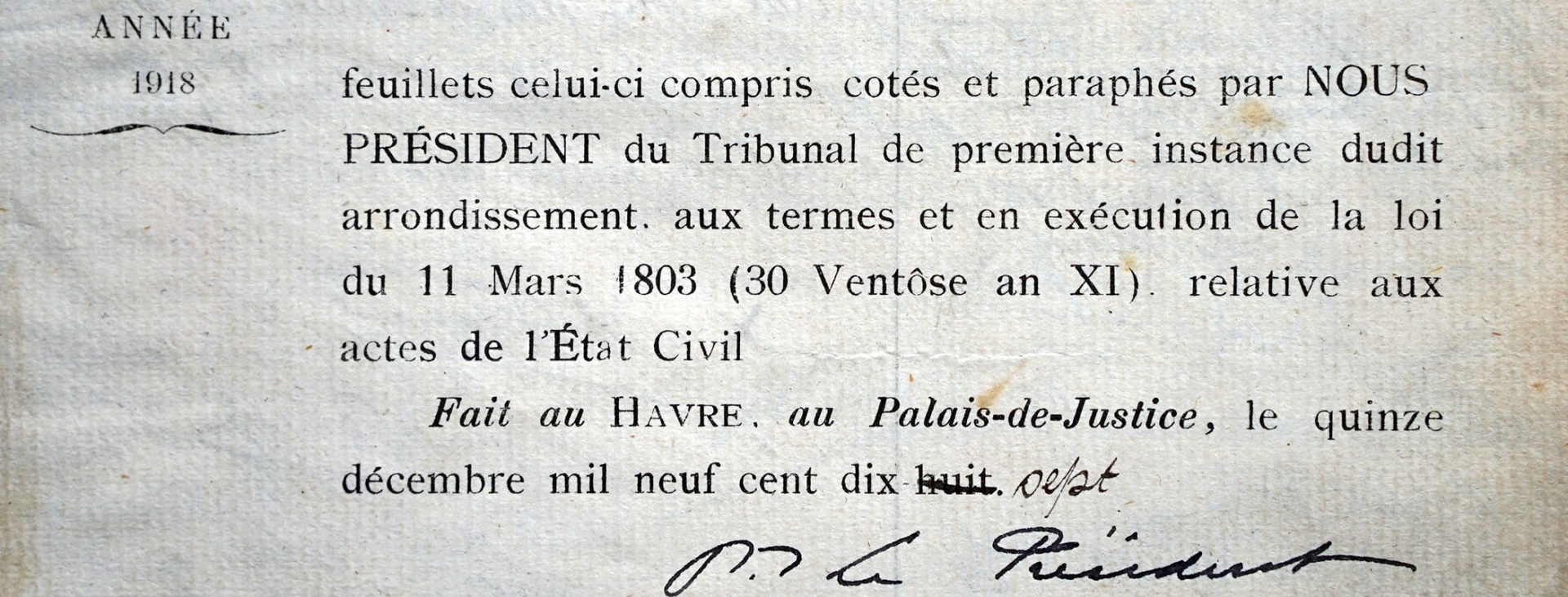 Etat civil de 1918