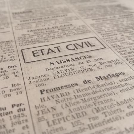 L'état civil de 1945 est communicable