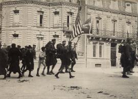 Les troupes américaines, départ de troupes, 1918.