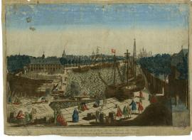 Vue perspective du bassin et parc de la Marine du Havre