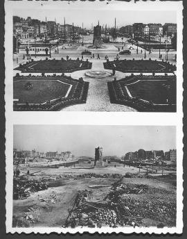 Le Havre. Vue d'ensemble des nouveaux jardins de la place Gambetta et bassin du Commerce