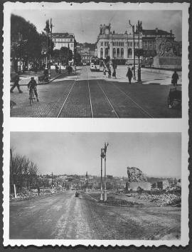 Le Havre. Place Gambetta, rue de Paris vers l'hôtel de ville