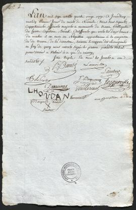 -Un certificat de décès d'un enfant sur le navire L'Alligator (1791-1792). 49Z150.