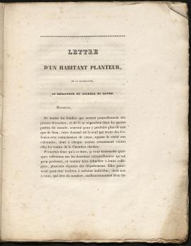 Lettre d'un habitant planteur de la Guadeloupe au rédacteur du Journal du Havre, 52Z24.