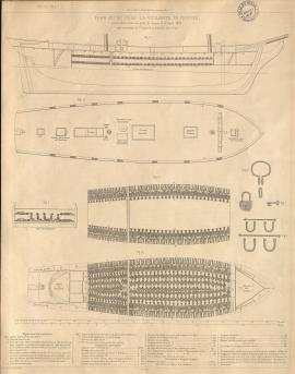 Profil et coupe de La Vigilante (1822), brick négrier de Nantes.