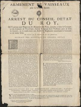 Arrêt du Conseil d'Etat du Roi,1741 (HH72)
