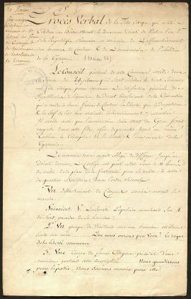 -Procès-verbal de la Fête civique qui a été célébrée au Havre-Marat le 2ème décadi de ventôse l'an 2ème de la République française en mémoire de l'affranchissement des hommes de couleur (10 mars 1794) Kfr45