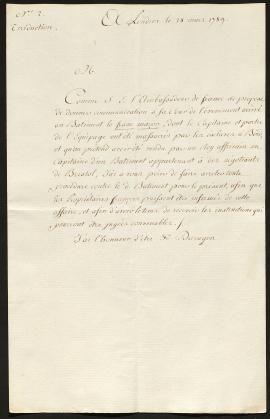 Lettre de l'Ambassade de France à Londres résumant l'affaire, Londres, 28 mars 1789