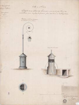 Projet d'une borne-fontaine à poser sur la place Louis-XVI, vers la mâture, pour remplacer la fontaine placée dans le rue de l'Hôpital (2Fi525)