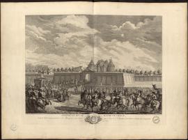 Arrivée du Roy au Havre de Grace dont les clefs sont présentées à Sa Majesté à son entrée par le Duc de Saint-Aignan, gouverneur, à la tête des Magistrats, le 19 septembre 1749