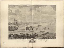 Le Roy étant sur la plage de la rade du Havre voit lancer 3 navires à la mer et représenter un combat naval, le 20 septembre 1749.