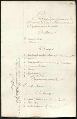 Les préparatifs du Voyage, inventaire des navires, page 1 (6P9-24)